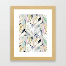 Pastel Shimmer Feather Leaves on Gray Framed Art Print