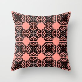 Black Doilies (Design 2) w/ a Coral Background Throw Pillow
