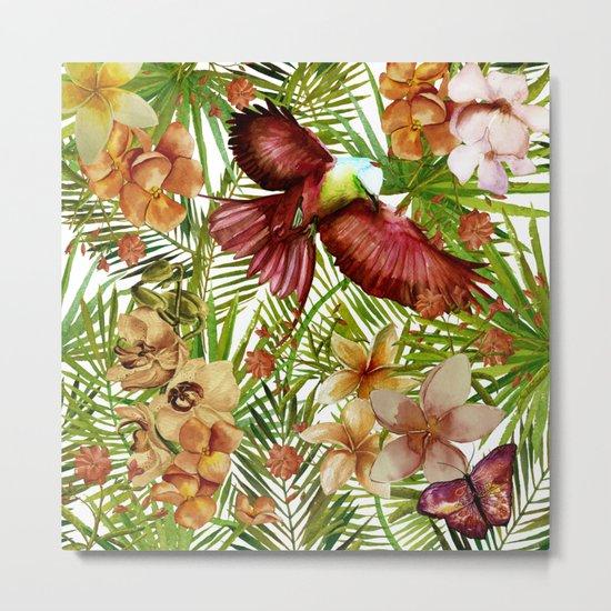 Aloha- Tropical Jungle Bird, Butterfly and Flowers Garden Metal Print