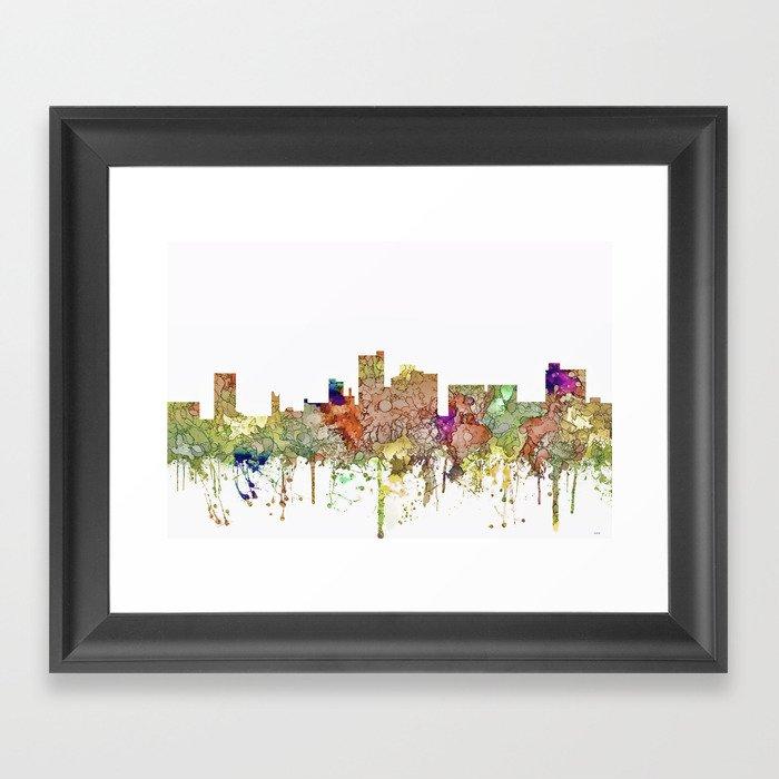 Lubbock, Texas Skyline - Faded Glory Gerahmter Kunstdruck