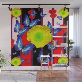 RED-BLACK  BLUE BUTTERFLY &  YELLOW FLOWER FLORAL Wall Mural