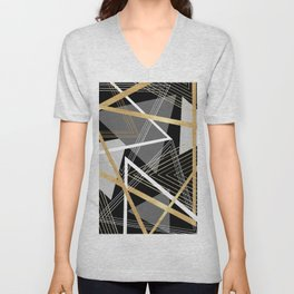 Original Gray and Gold Abstract Geometric Unisex V-Neck