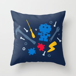 Young Engineer - Blue, Red and Yellow Throw Pillow