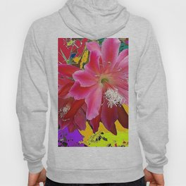 Fuchsia Pink Orchid Cacti Flower Hoody