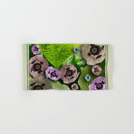 POPPIES AND HOSTAS FLOWERS AND FOLIAGE Hand & Bath Towel