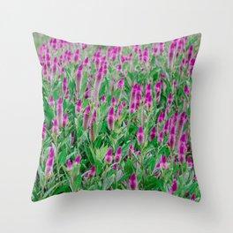 Celosia Flower Field Throw Pillow