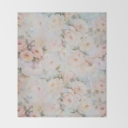 Vintage romantic blush pink ivory elegant rose floral Throw Blanket