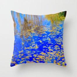 Golden leaves, shimmering pond Throw Pillow