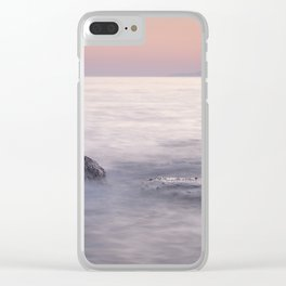 Serenity Sea. Orange Sunset Clear iPhone Case