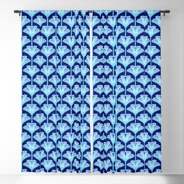 Art Deco Lily, Cobalt Blue, Aqua and White Blackout Curtain