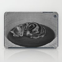 sofa iPad Cases featuring sleeping cat on sofa by gzm_guvenc