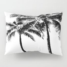 Black and White Palm Tree with Hawaii Summer Sea Beach Pillow Sham