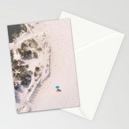 The Beach and the Aqua Polka Dot Umbrella Stationery Cards