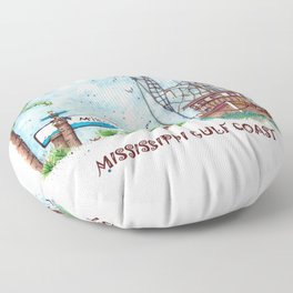 Mississippi Gulf Coast Floor Pillow