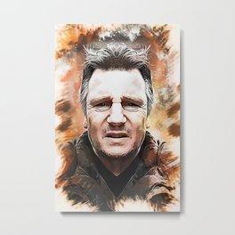 Liam Neeson Caricature Metal Print