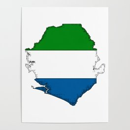 Sierra Leone Map with Sierra Leonean Flag Poster