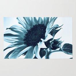 Pastel Blue Sunflower Rug