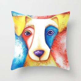 Dog Jack Russell Terrier JRT Original Art Confetti Throw Pillow