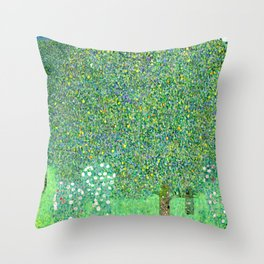 "Gustav Klimt ""Rosebushes under the Trees"" Throw Pillow"