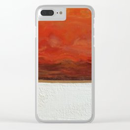 Northern Lights (red) Original Encaustic Painting Clear iPhone Case