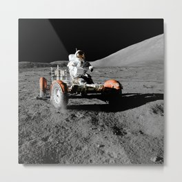 Astronaut Rides Lunar Roving Vehicle on the Moon - NASA Metal Print