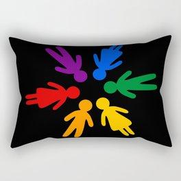 Rainbow people circle Rectangular Pillow