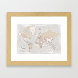 Love is the greatest adventure world map with cities Framed Art Print