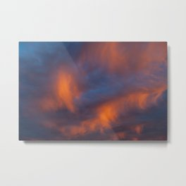 orange light on cirrus clouds and blue sky Metal Print