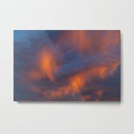 orange light on cirrus clouds and blue sky Metal Print