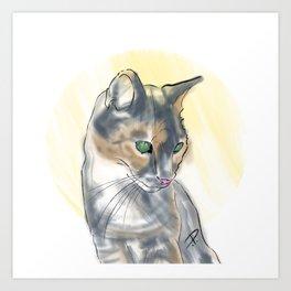 Green Eyed Cat Art Print