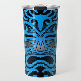 Stylish Blue and Black Mayan Mask Travel Mug