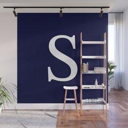 Navy Blue Basic Monogram S Wall Mural