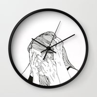 introvert Wall Clocks featuring Introvert 1 by Heidi Banford