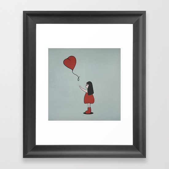 Girl with a Heart-Shaped Balloon Framed Art Print