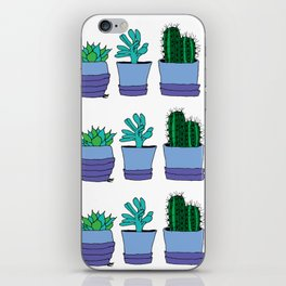 Potted succulent and cactus plant doodle pattern iPhone Skin
