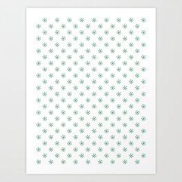 Cadmium Green on White Snowflakes Art Print