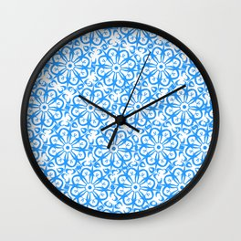 Light blue ornamental pattern Wall Clock
