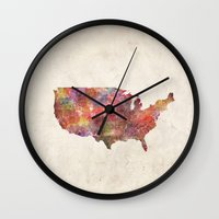 usa Wall Clocks featuring USA map by MapMapMaps.Watercolors