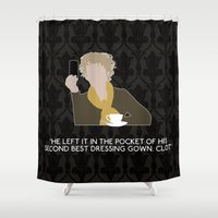 scandal Shower Curtains featuring A Scandal in Belgravia - Mrs Hudson by MacGuffin Designs