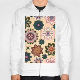 Flower retro pattern. Green pink flowers on beige background. Hoody
