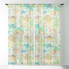 Happy Dinos - citrus colors Sheer Curtain