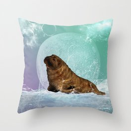 Cute  walrus with water splash Throw Pillow