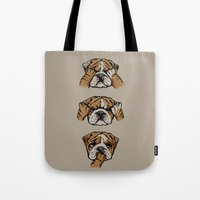 english bulldog Tote Bags featuring Noevil English Bulldog by Huebucket