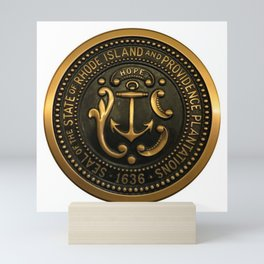 Rhode Island and Providence Plantations Hope and Anchor bronze state seal art portrait Mini Art Print