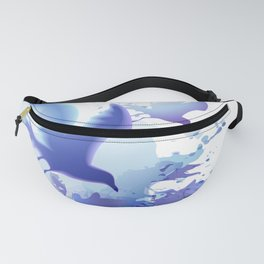 Watercolor sea ocean waves seascape with realistic birds, gulls, abstract water. Realism. Art. Fanny Pack