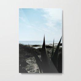 Dark green cactus leaves ocean backdrop | Botanical garden | Travel photography art print Metal Print