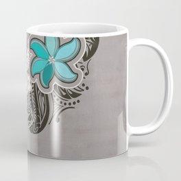 Teal Hawaiian Floral Tattoo Design Coffee Mug