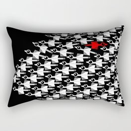 Migration Black and White Bird Pattern Rectangular Pillow