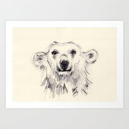Polar Bear Smiling Black and White Art Print