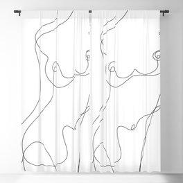 Minimal Line Art One Line Female Figure I Blackout Curtain